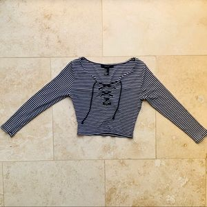 Forever21 lace up striped crop quarter sleeve top